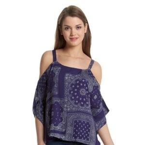 Hippie Laundry blue bandana cold shoulder top